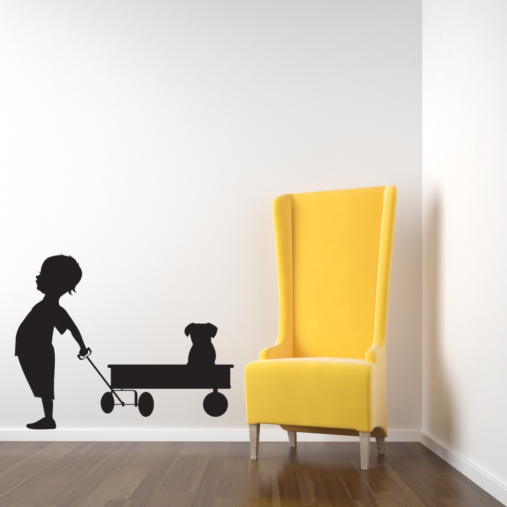 Boy with His Wagon and Puppy - Vinyl Wall and 50 similar items
