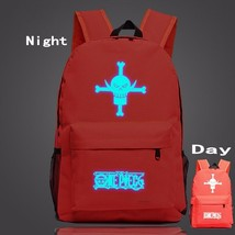 One Piece Symbol Red Fire Glowing Luminous School Trendy Design Backpack - $32.00