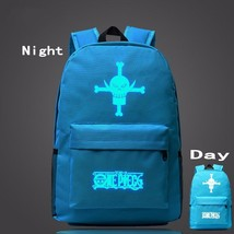 One Piece Symbol Sky Blue Luminous School Trendy Design Backpack - $32.00