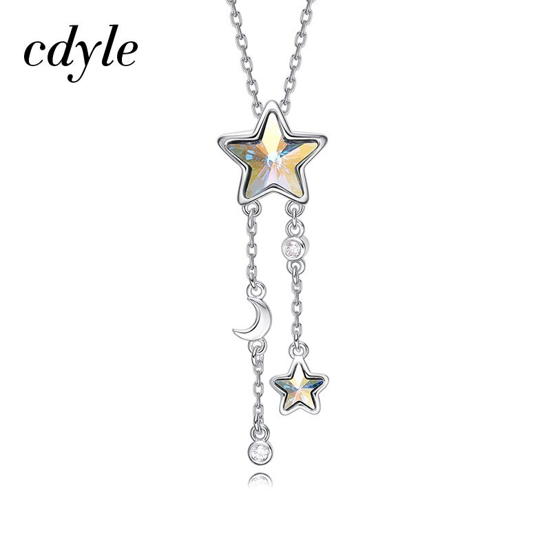 Cdyle Embellished with crystals from Swarovski Women Necklace Pendant Blue Star