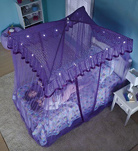 bed canopy netting mosquito purple sparkling lights girls. Black Bedroom Furniture Sets. Home Design Ideas