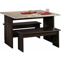 Dining Table Set with Benches Kitchen Space Saver Efficient Elegant Vers... - $223.99