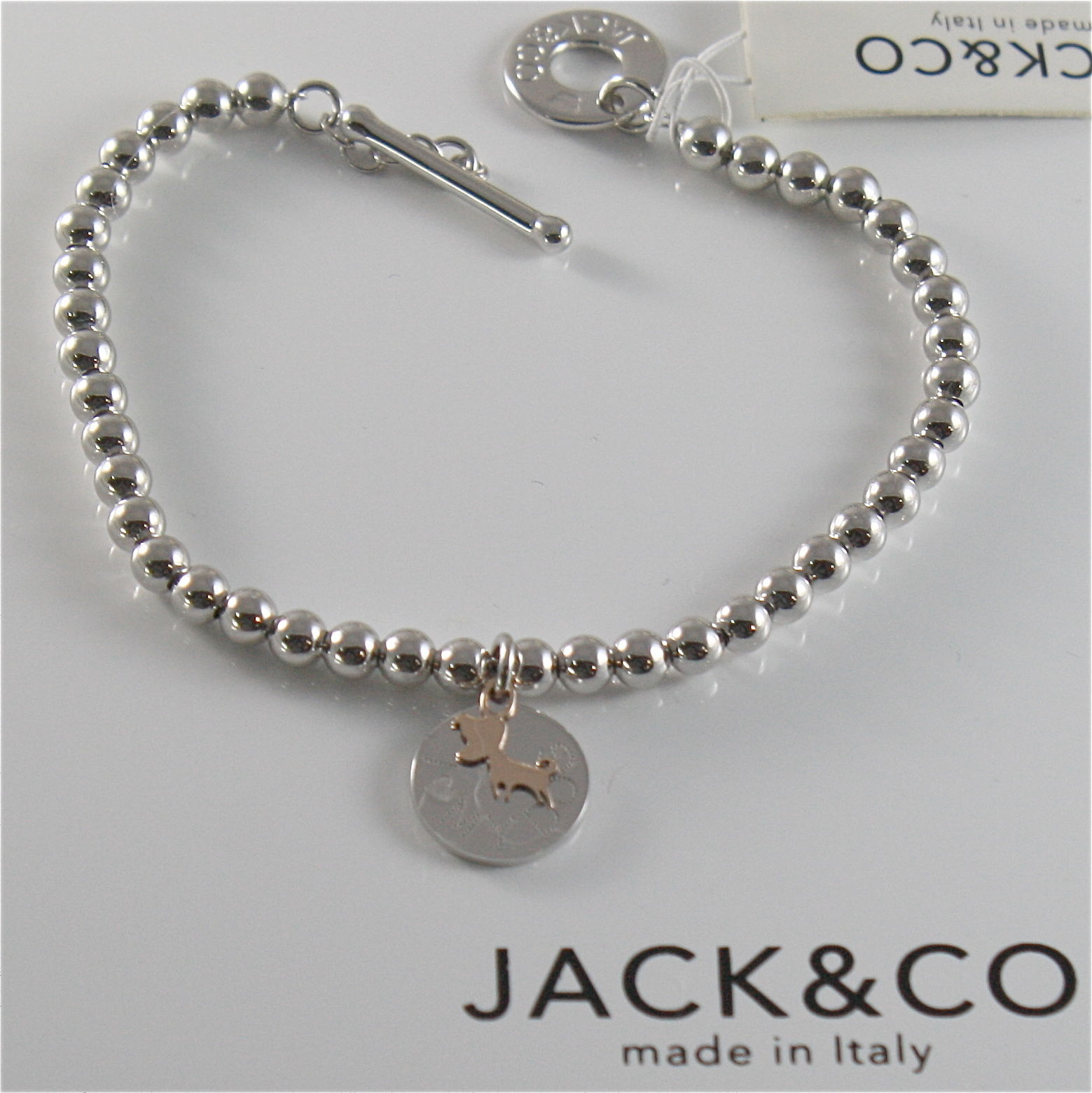 925 RHODIUM SILVER JACK&CO BRACELET 9KT ROSE GOLD JACK RUSSEL DOG  MADE IN ITALY