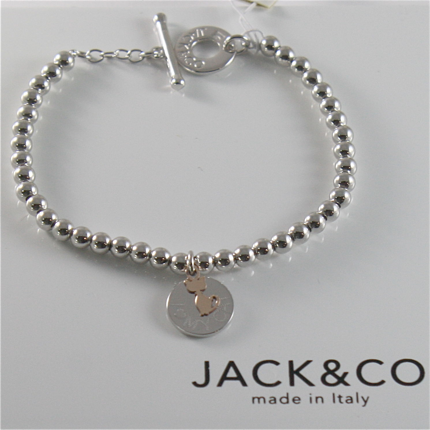 925 RHODIUM SILVER JACK&CO BRACELET WITH 9KT ROSE GOLD CAT KITTEN  MADE IN ITALY