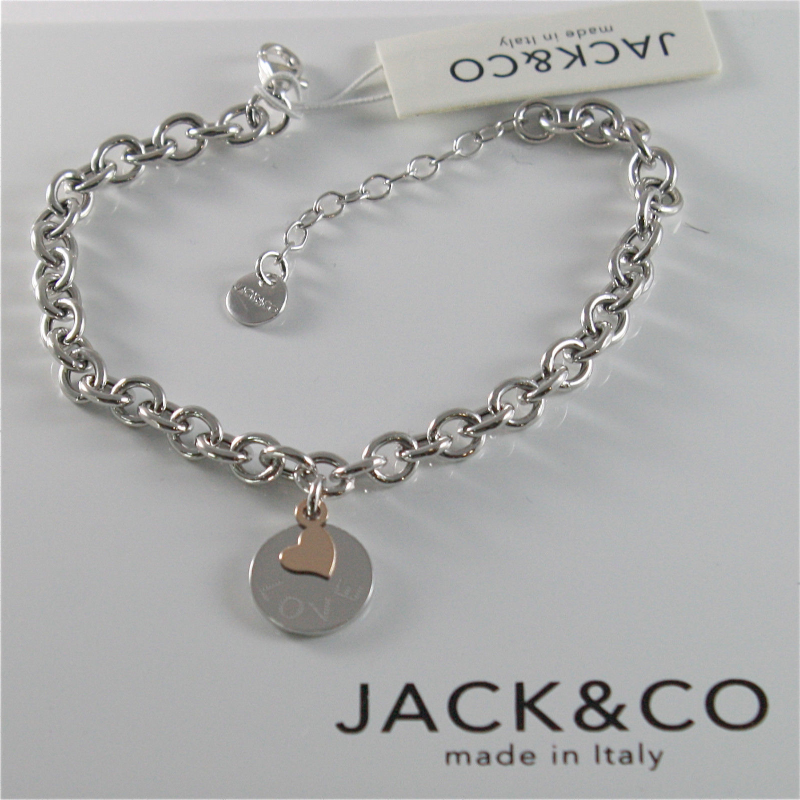 925 RHODIUM SILVER JACK&CO BRACELET WITH 9KT ROSE GOLD HEART LOVE  MADE IN ITALY