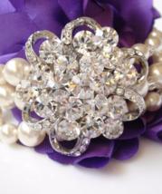 Vintage Lace Swarovski Bracelet - Cubic Zirconia Pearl Bridal Jewelry  - $58.00