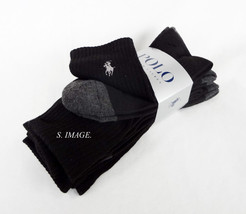 POLO RALPH LAUREN Men's CREW Socks 4 Pairs Size10-13 Black - New! - $20.95