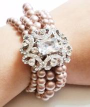 Vintage Statement Bracelet - Swarovski Pearl Cubic Zirconia Lace - Bride... - $65.00