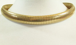 Vintge SARAH Coventry RIBBED Omega Chain Choker Necklace Snake Gas Pipe ... - $18.80