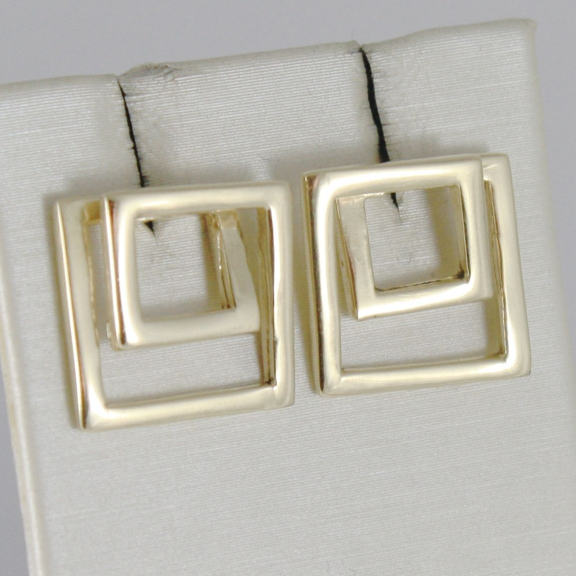 SOLID 18K YELLOW GOLD EARRINGS DOUBLE TWISTED SQUARE SQUARES MADE IN ITALY