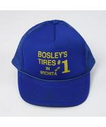 Vtg 90s Blue Mesh Trucker Snapback Hat Baseball Cap BOSLEYS TIRES WICHIT... - $14.84