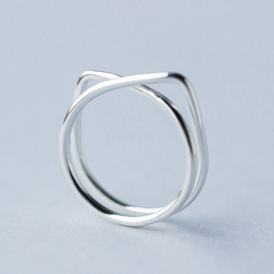 Cute cat lines 925 sterling silver free size ring