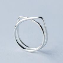 Cute cat lines 925 sterling silver free size ring - $27.83