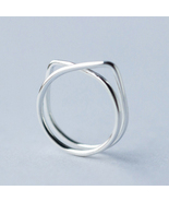 Cute cat lines 925 sterling silver free size ring - £20.51 GBP