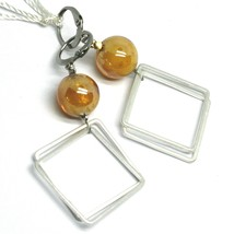 """PENDANT EARRINGS ORANGE MURANO GLASS SPHERE AND BIG SQUARE 6cm 2.36"""" ITALY MADE image 1"""