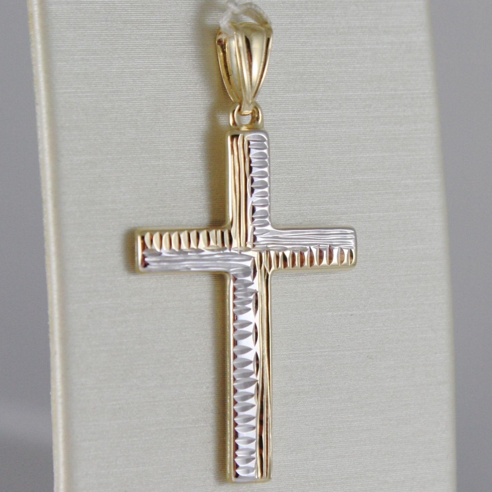 18K WHITE YELLOW GOLD CROSS FINELY WORKED, SQUARED, SMOOTH, MADE IN ITALY