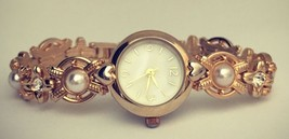 Women's Watch and Bracelet Set Gold Tone Pearls... - $23.38