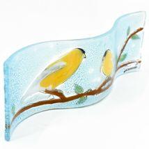 Fused Art Glass Goldfinch Yellow Finch Wavy Decor Sun Catcher Handmade Ecuador image 3