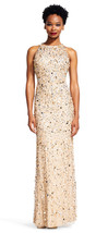 Adrianna Papell New Womens Champagne/Silver Beaded Cut-Out Gown   10 - $256.41