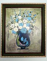 Vintage Mid Century 19x23 Still Life Flowers in Vase Floral Framed Print... - $49.99