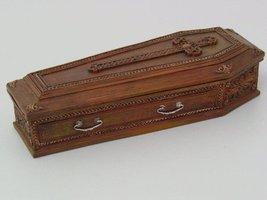 8.25 Inch Cross Embellished Coffin Jewelry/Trinket Box Figurine - £14.96 GBP