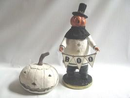 Spooky Boo Pumpkin Head figure Black, White Halloween Heather Meyers - $17.82