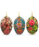 "3"" Set of 3 Flowers Ukrainian Easter Eggs Woode... - $26.34"