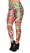 BadAssLeggings Women's Christmas Candycanes Leggings 2XL Red Green - $21.77
