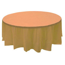 "2 Plastic Round Tablecloths 84"" Diameter Table Cover - Peach - €5,94 EUR"