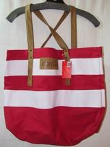 Coca-Cola 2013 Canvas Travel Tote Bag RARE Red White Striped Collectible