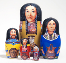 "Native American Princesses Nesting Doll - 5"" w/ 5 Pieces - $36.00"