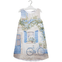 Mayoral Big Girl Tween Light Blue Pleated Back Novelty Print Chiffon Shift Dress