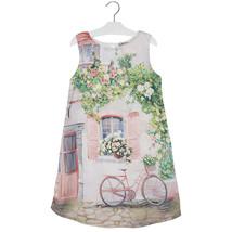 Mayoral Big Girl Tween Rose-Pink Pleated Back Novelty Print Chiffon Shift Dress