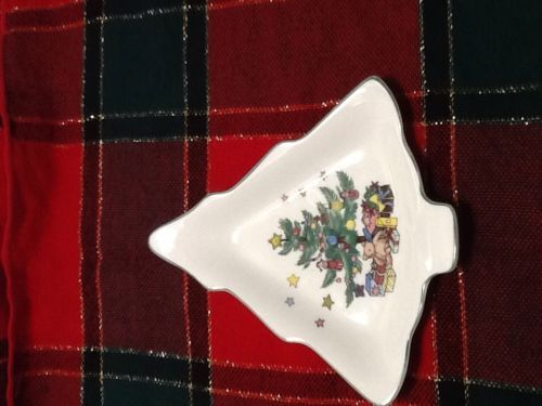 Rare Vintage China Porcelain Nikko Japan Christmas Tree Shaped Candy Dish