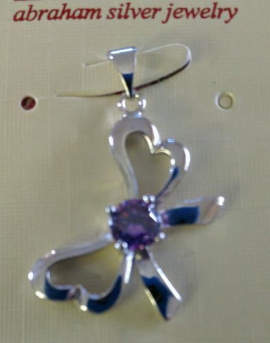 Heart bowtie with amethyst gemstone pendant w 925 SS chain RETAIL $20