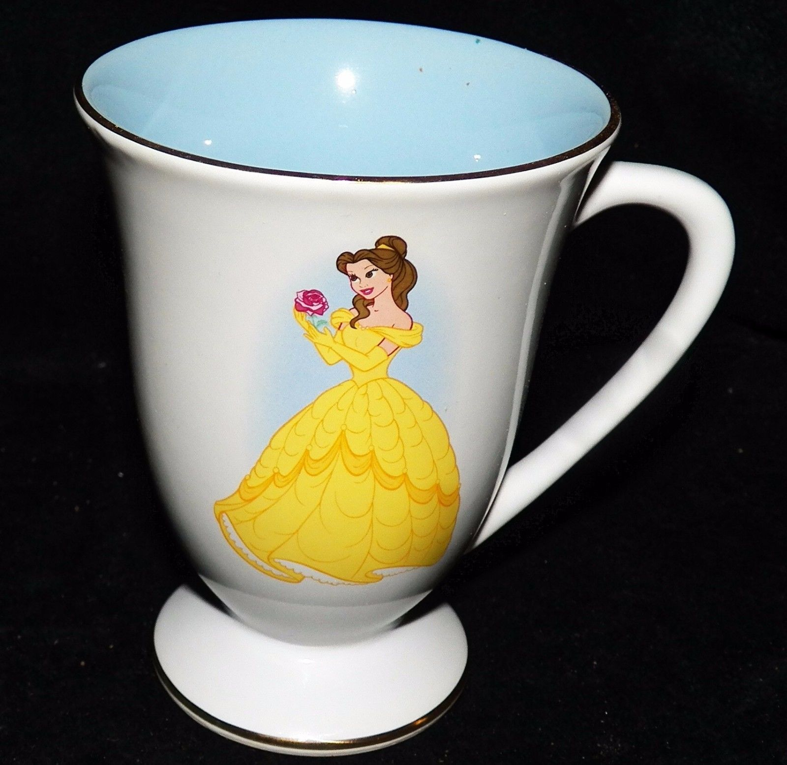 Vtg Disney Store Beauty and the Beast Belle Footed Pedestal Princess Coffee Mug