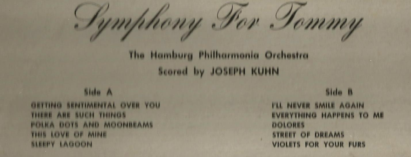 THE HAMBUEG PHILHARMONIC ORCHESTRA * TRIBUTE TO TOMMY * TOMMY DORSEY LP STEREO