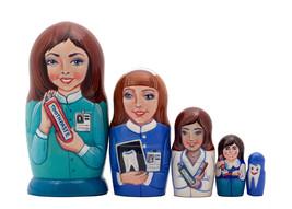 "Female Dentist Nesting Doll - 5"" w/ 5 Pieces - $36.00"