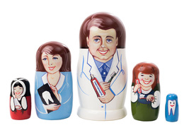 "Male Dentist Nesting Doll - 5"" w/ 5 Pieces - $36.00"