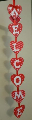 Valentine's Day Wall Or Door Sign WELCOME Hearts Hanging Party Decor 24""