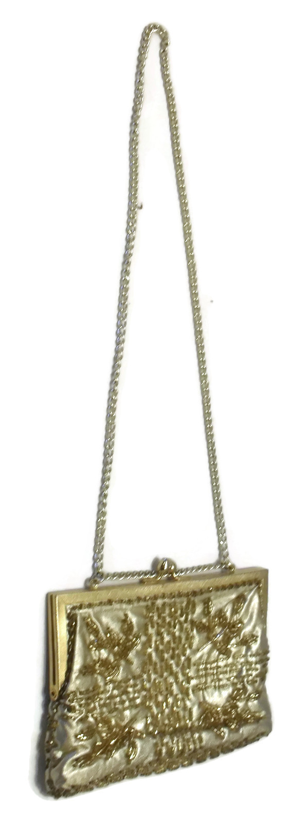 Vintage Gold Beaded Walborg Evening Clutch Sholder Handbag