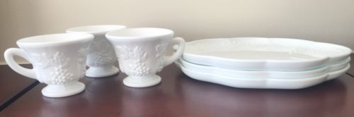 Set of 3 Vintage Indiana Patricia Colony Harvest Milk Glass Lunch Snack Cup