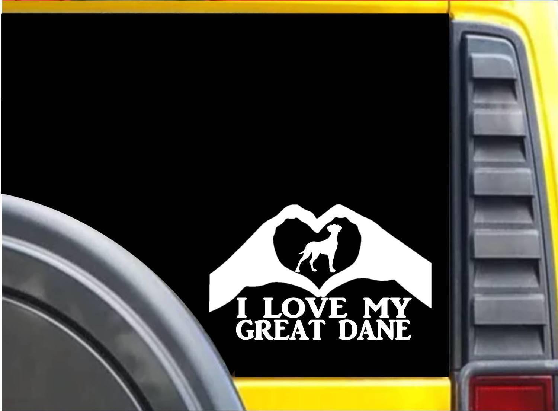 Great Dane Heart Hands K610 8 inch Sticker dog decal