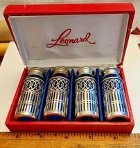 4 Vintage Leonard Silver Plate Cobalt Glass Salt & Pepper Shakers Orig Box JAPAN image 2