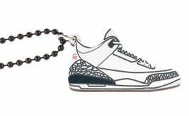Good Wood NYC White Cement 3's Sneaker Necklace white/Gray/Black III Kicks NEW