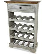 Wine Rack Bar Table Antique Wood 16 Bottle Holder Storage Drawer Decor F... - $303.35