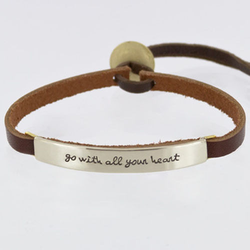 Leather Cuff Bracelet Quote Bracelet Adjustable Bracelet Stamped Jewelry Leather