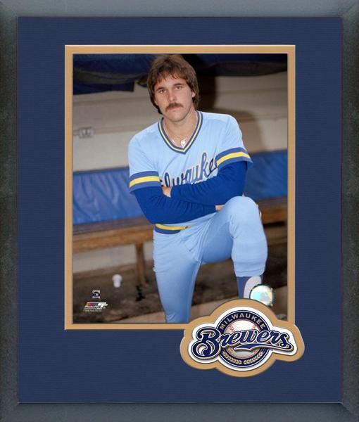 Moose Haas Milwaukee Brewers Circa 1977 -11x14 Team Logo Matted/Framed Photo