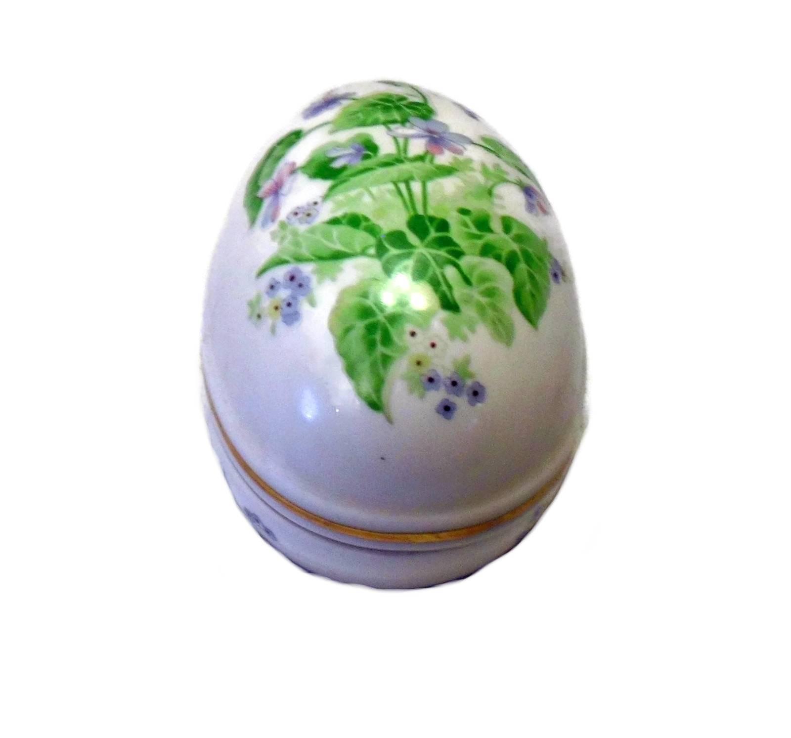 Vintage Japan Porcelain Painted Egg Trinket Box