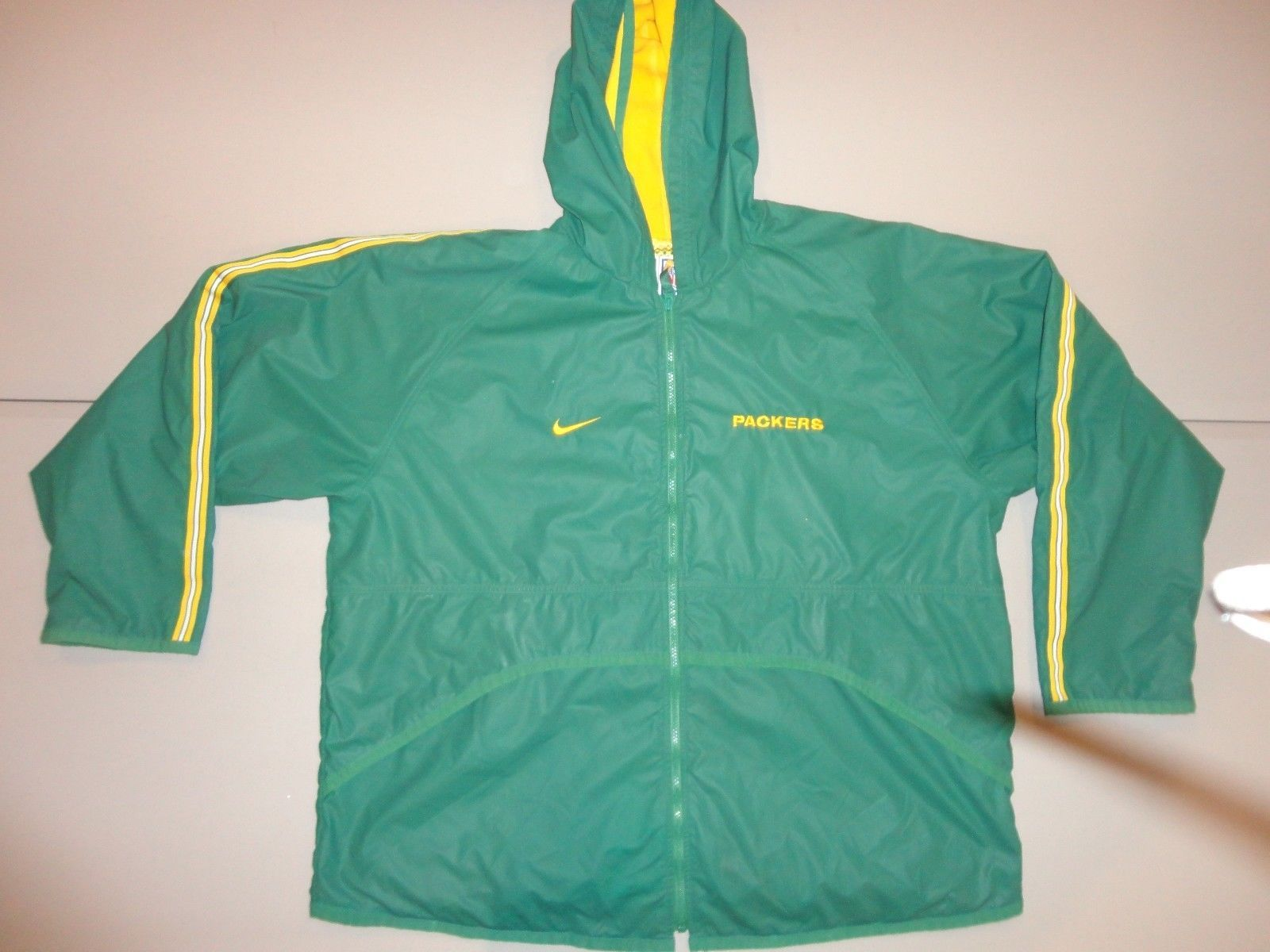 NIKE Authentic Green Bay Packers Sewn Hooded Water Resistant NFL Jacket Men XL